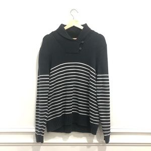 Chaps Navy Striped Pullover Nautical Sweater - L